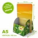 Dispensador de cartón personalizado A5 vertical 100 mm.