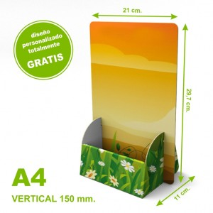 Dispensador personalizado de cartón A4 vertical 150 mm.