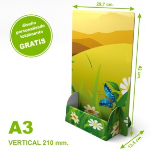 Dispensador personalizado de cartón A3 vertical 210 mm.